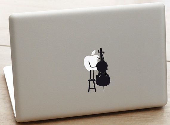 cello Macbook pro Decal music lover decal by dadavinylsanddesigns