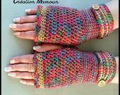 """Mitaines crochetées main """"Les Arlequins"""" : Mitaines, gants par mamountricote"""