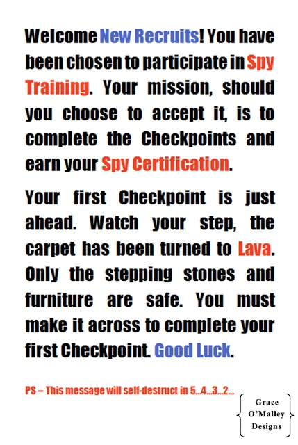 Spy Training 101 - could be a way to introduce various missions (aka learning centers).
