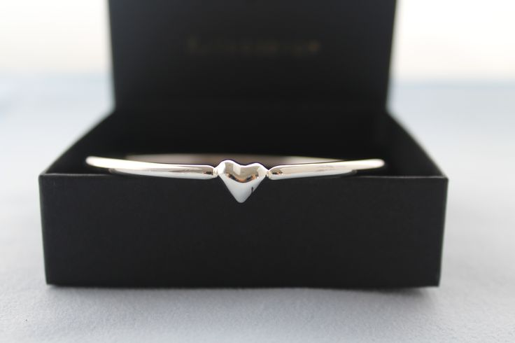 Sterling Silver Love Heart Bangle-Hand crafted solid silver bangle
