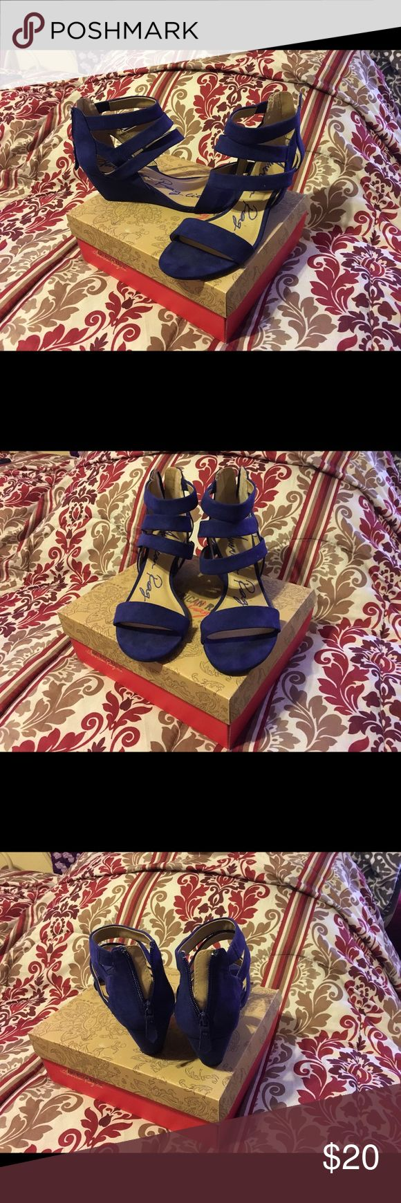 American rag blue suede sandals American Rag blue suede sandals. 2 inch wedges, zipper close, straps around ankle. Only worn a few times. Deep bluish purple color. American Rag Shoes Sandals