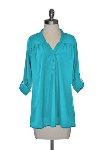 Button Front Tunic in Ocean Blue. I would so wear this.