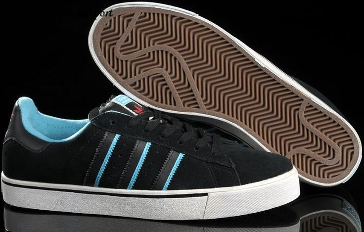 Adidas Campus Vulc Low Men's Skate Shoes Black/Sky Blue/Red/White HOT SALE! HOT PRICE!
