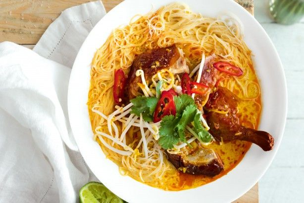 Create a vibrant roast duck laksa with the flavours of chilli, coriander and coconut milk.