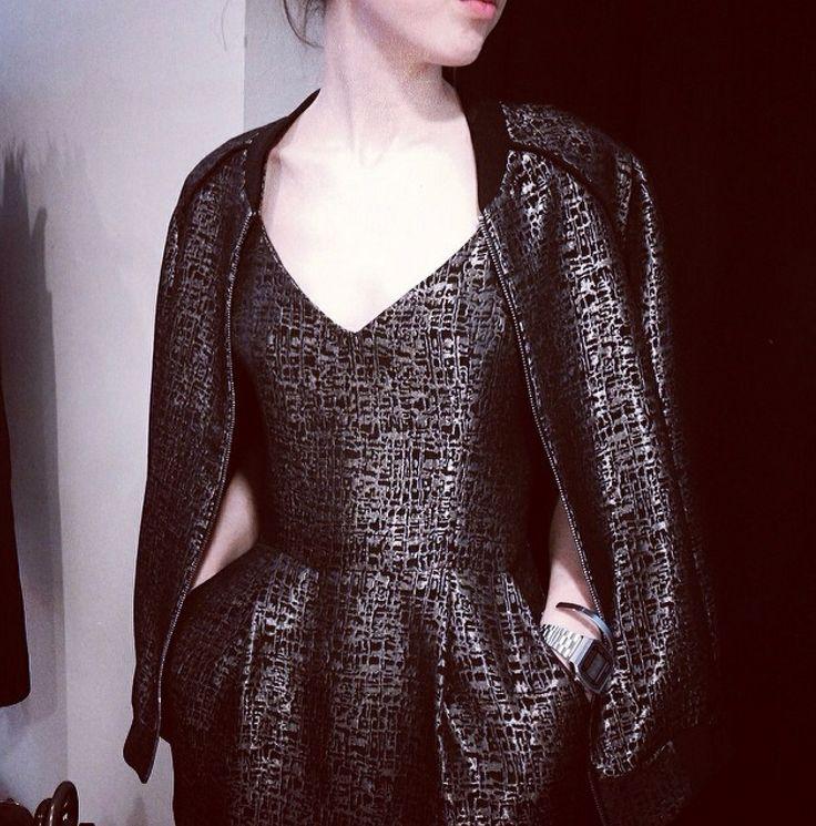 MONOCHROM - Brocade dress & Bomber jacket