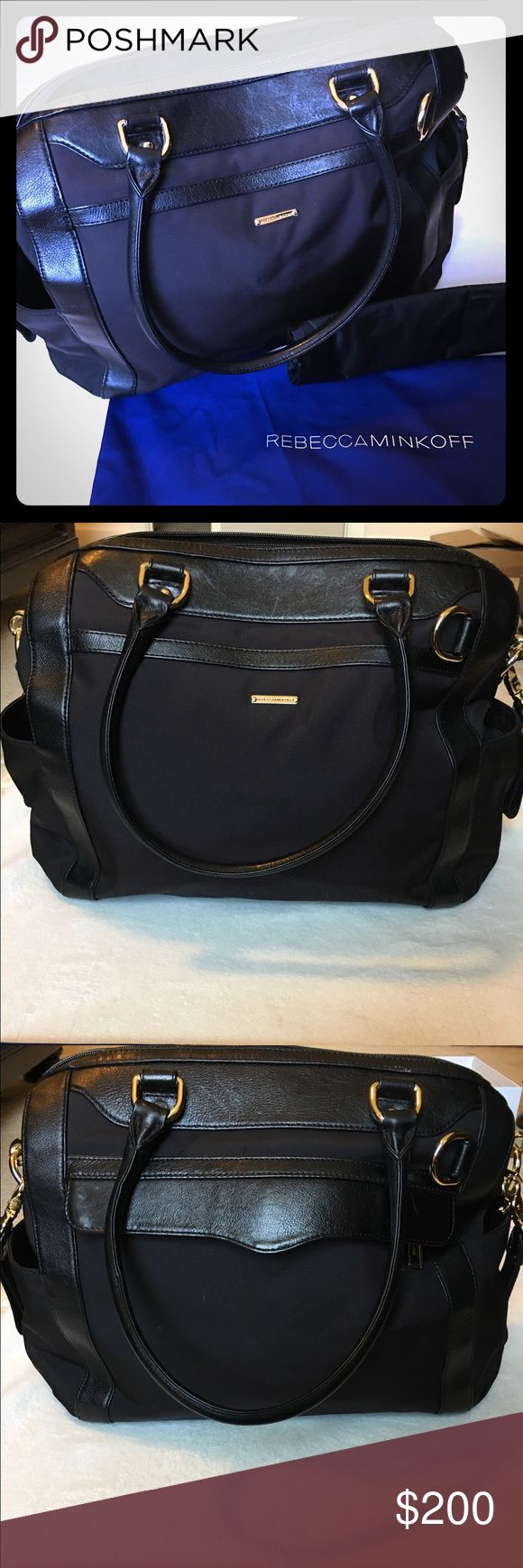 Rebecca Minkoff Knocked Up Baby bag Nylon diaper bag with genuine leather trim.  Includes gold hardware, stroller strap, changing pad, and bag cover.  Interior zipper pocket, four slip pockets, and two bottle pockets.  In great condition! Rebecca Minkoff Bags Baby Bags