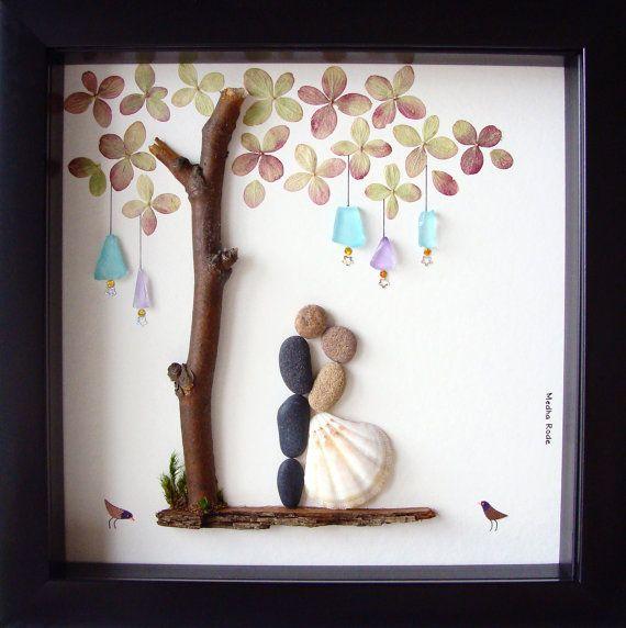 Wedding Gift Pebble Art-Unique Engagement Gift-Personalized Wedding…