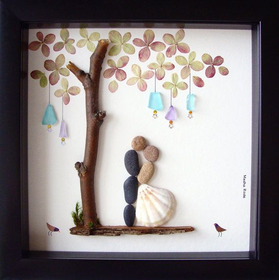 Boda Gift Pebble Art-Unique Engagement por MedhaRode en Etsy