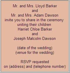 Formal Wedding Invitation Wording Etiquette (Parte Two) |