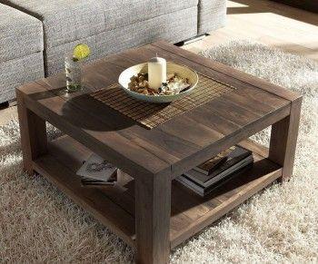 Couchtisch 80x80 cm Akazie Tabak Massivholz mit Ablage Bild 1