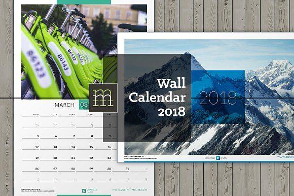 2018 Printable Photo Calendar Indesign Template 달력 인테리어