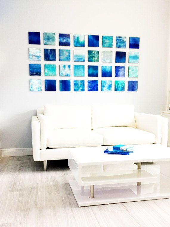 Blue Wall Art | Wood Wall Art | Modern Wall Sculpture | Abstract Painting |  Wall