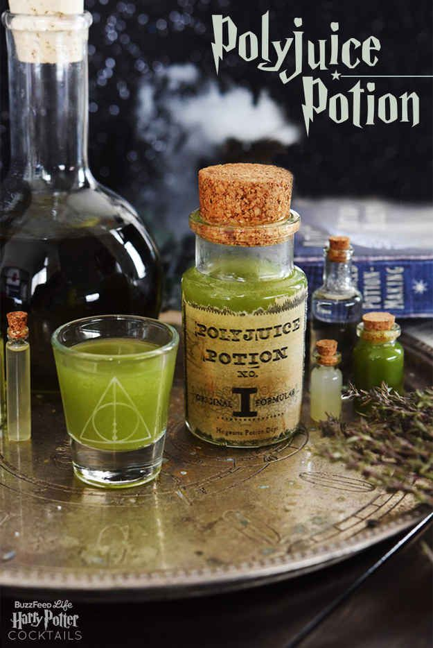 Polyjuice Potion Serves 1 We used a green juice from Blueprint, but you can make your own if you have a juicer or pick up a cup from your favorite juice shop. It should include some citrus and at least one fruit, like apple or pineapple, for sweetness. The Chartreuse liqueur adds an interesting herbal note, but you can skip if you'd rather (it's expensive). 1.5 oz gin 1.5 oz fresh-pressed or bottled green juice 1 oz green Chartreuse ½ oz lime juice 7-Up or Sprite (optional) Shake gin…