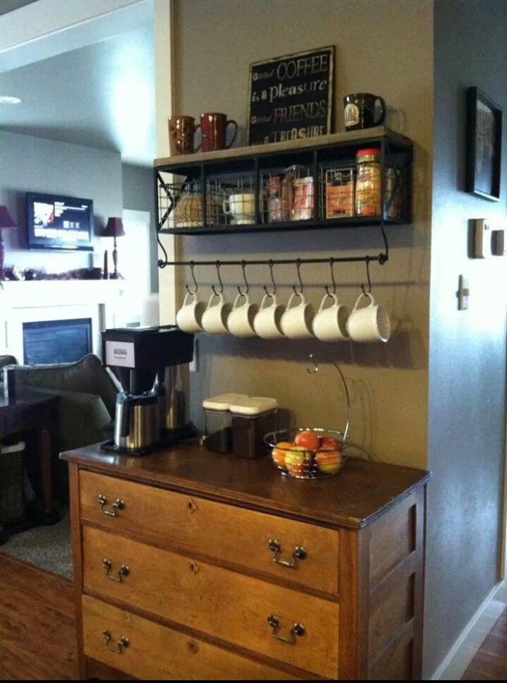 Coffee station....seriously considering this idea.....cozy