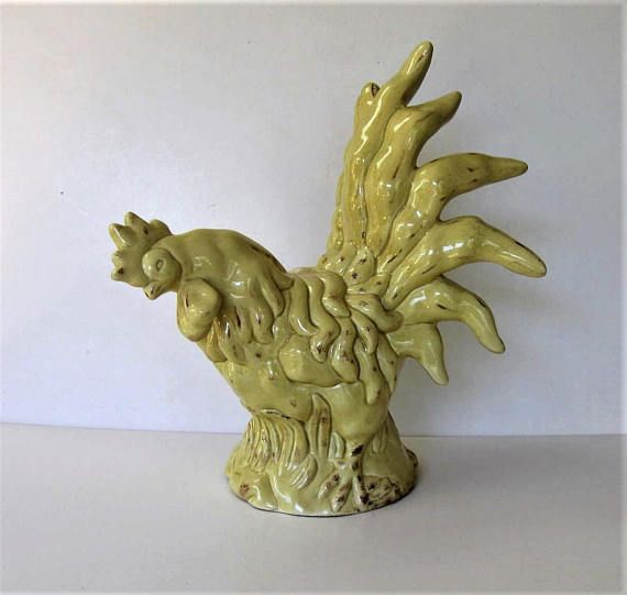 Shabby Vintage French Country ceramic Rooster Pale Yellow