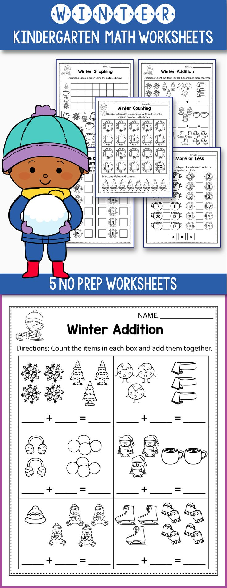 Free Winter math worksheets for kindergarten - includes some fun winter games for preschool, kindergarten or even first grade. Worksheets included: count the objects, same or different, make a pattern, comparing numbers, ten frames,skip counting, addition games, tally marks and more. #kindergarten #worksheet #free #math #prek  #prekactivities #1stgrade #primarymath
