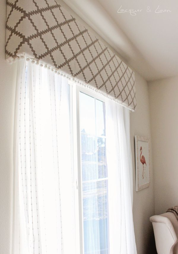 DINING ROOM IDEA: This is the cornice idea with the light curtains I was talking about. I could see the cornice upholstered in a colorful fabric and then add some light, neutral curtains to hang underneath.