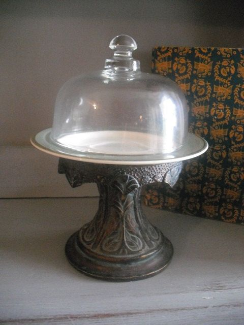 vintage Art Nouveau pedestal Cloche Dome covered Dish ~ Cup cake stand ~ Display ~ server ~ upcycled  Wedding on Etsy, $24.00