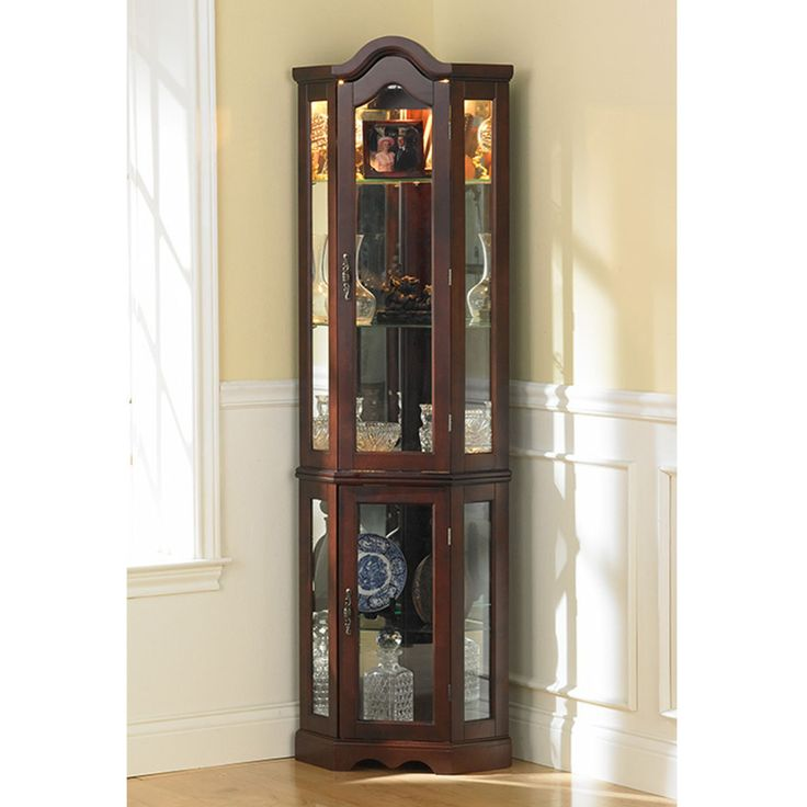 Tall Modern Brown Glass Wood Curion Display Corner Cabinet