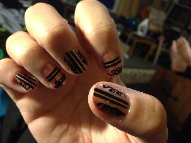 Pink with black stripes and swirls