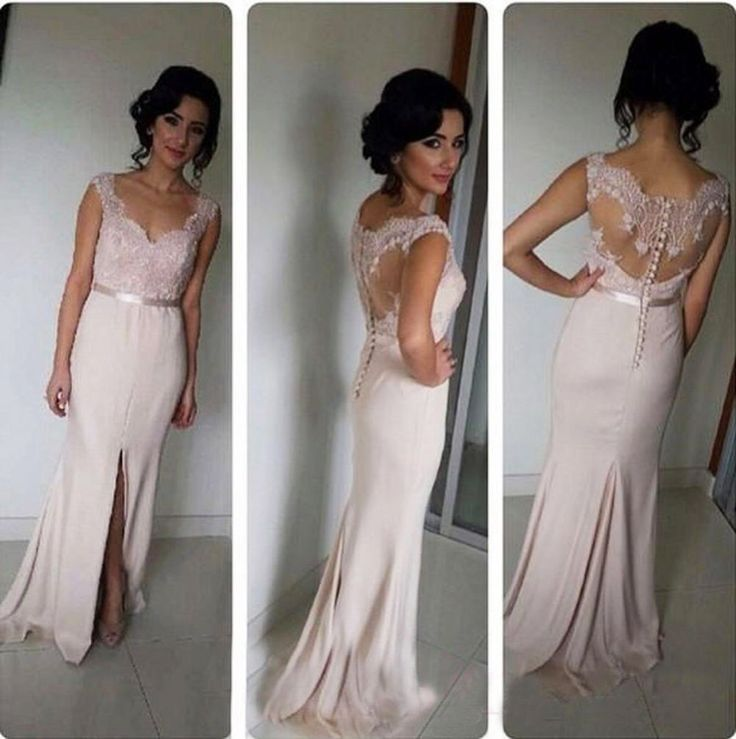 V Neck Lace Top Long Prom Dress With Sexy Slit   #prom #evening #party #dress