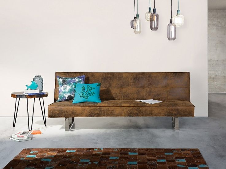 A unique sofa bed made from brown eco-leather – it's really elegant and stylish. Check Beliani UK for more design inspirations www.beliani.co.uk! #beliani #moderninteriorsdesign #sofabeds #sofa #bedroom #livingroomideas #couch #sofabed