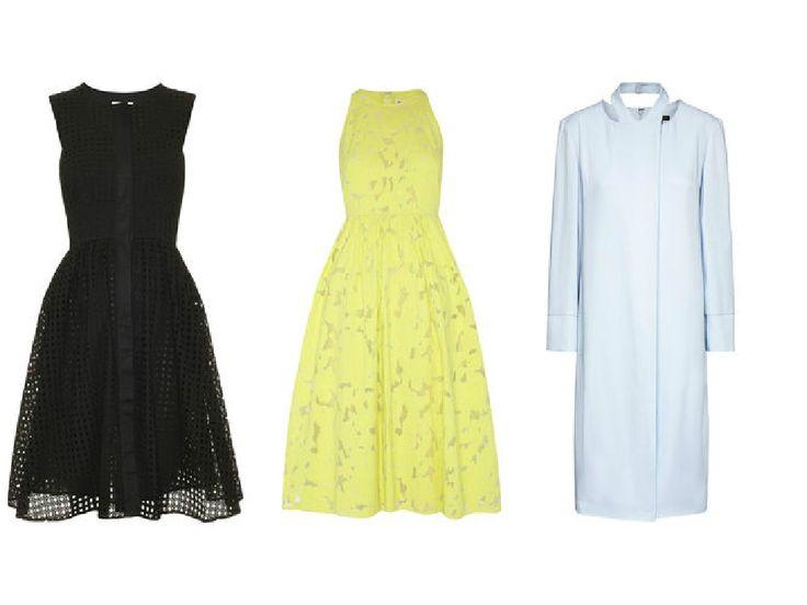 Summer midi dresses by Whistles - black midi dress, yellow midi dress and blue midi dress. Find the best 10 British high street brands here >>> http://bit.ly/1HpdLuo