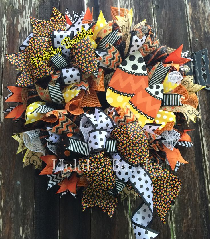 26 candy corn wreath wwwfacebookcomholidaybaubles2 holidaybaubles wreaths halloween - Halloween Candy Wreath