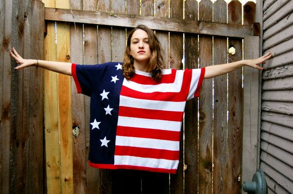 American Flag Shirt Red White and Blue Women's One Size by Nine89
