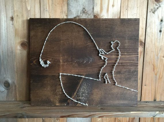 Fisherman String art  Father's Day Gift  Fishing Gift by UrbanHoot