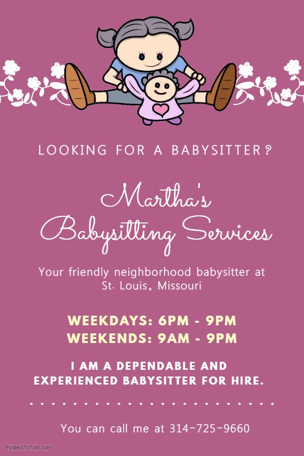 Purple Babysitter Poster With Illustration Babysitting