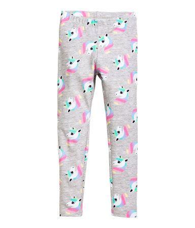7ef540fd55c90 Jersey Leggings | Dark gray/unicorn | KIDS | H&M US | Baby & Child ...