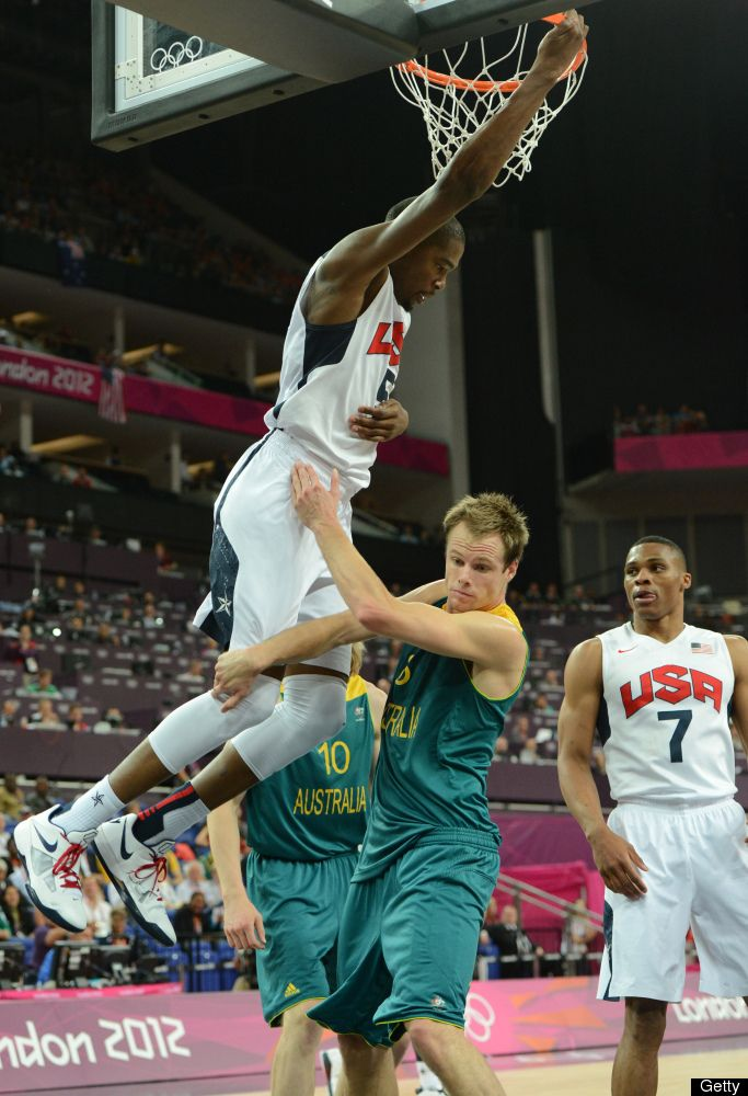 Kevin Durant  US forward Kevin Durant goes for a dunk over Australian forward Brad Newley during their London 2012 Olympic Games men's quarterfinal basketball match in London on August 8, 2012.