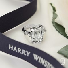 The quintessential beauty of the Classic Winston Emerald-Cut engagement ring from #HarryWinston. #FindTheOne