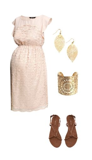 Adore this cute lace maternity dress with accentuated waistline - nice pregnant party outfit (flats are great!).