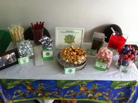 Teenage Mutant Ninja Turtle Party. TMNT birthday party. TMNT candy buffet