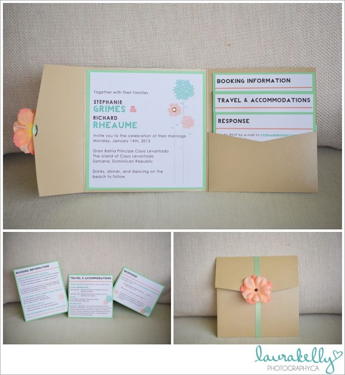 destination wedding stationery, destination wedding invitation, wedding invitation destination, coral and mint green wedding