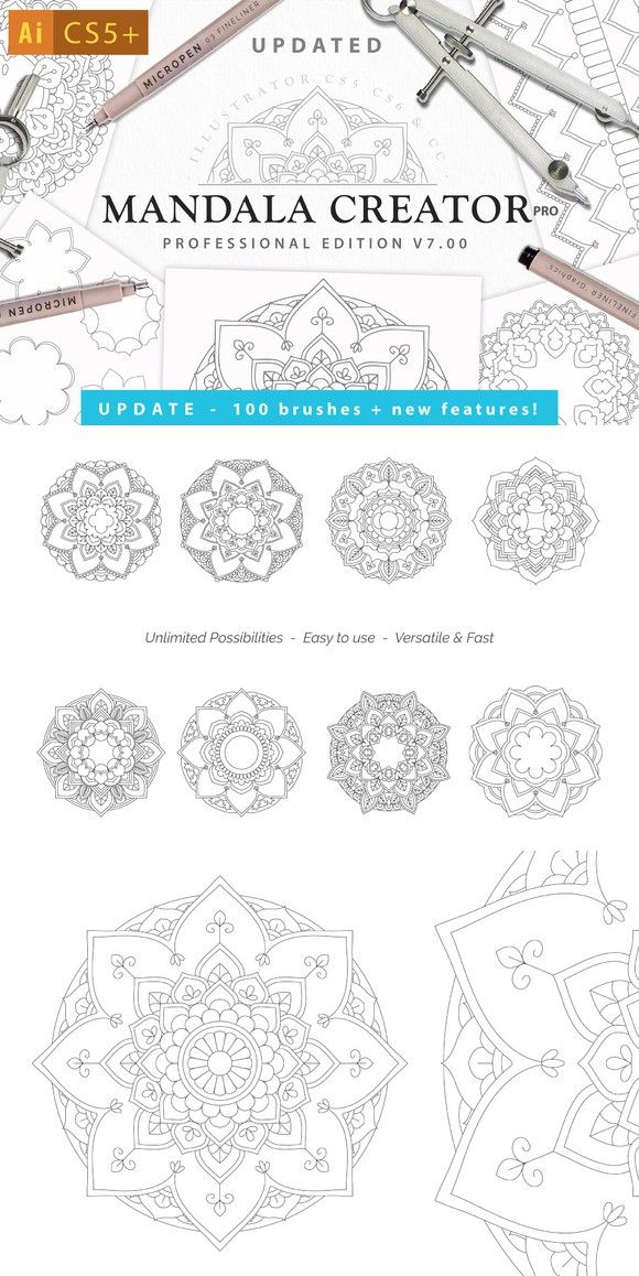 Mandala Creator Pro for Ai CS5+. Actions. $14.00