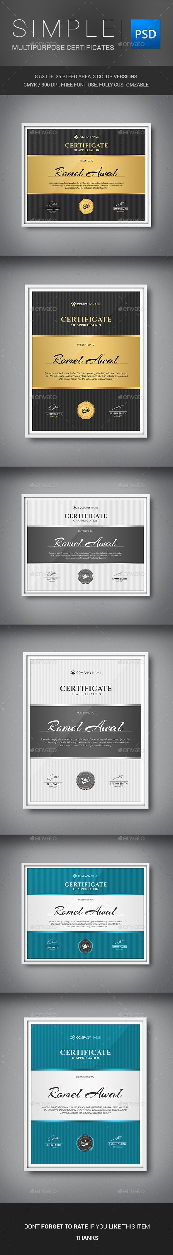 Simple Multipurpose Certificates Template PSD. Download here: http://graphicriver.net/item/simple-multipurpose-certificates/11439238?ref=ksioks