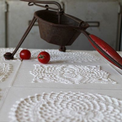 CROCHET MIND tiles by Peppino Lopez #madeinsicily | inspired by traditional Sicilian doilies, made with marble powder