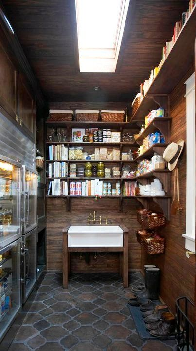 a refrigerator in the pantry! and is that another oven in the back. makes me smile!!
