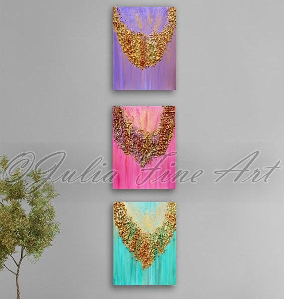 This Original #Abstract Triptych #Painting come ready to hang in your home. You need no additional frame. Mixed Media, Rich Texture Acrylic Relief Painting on Canvas on woode... #art #painting #print #abstract #watercolor