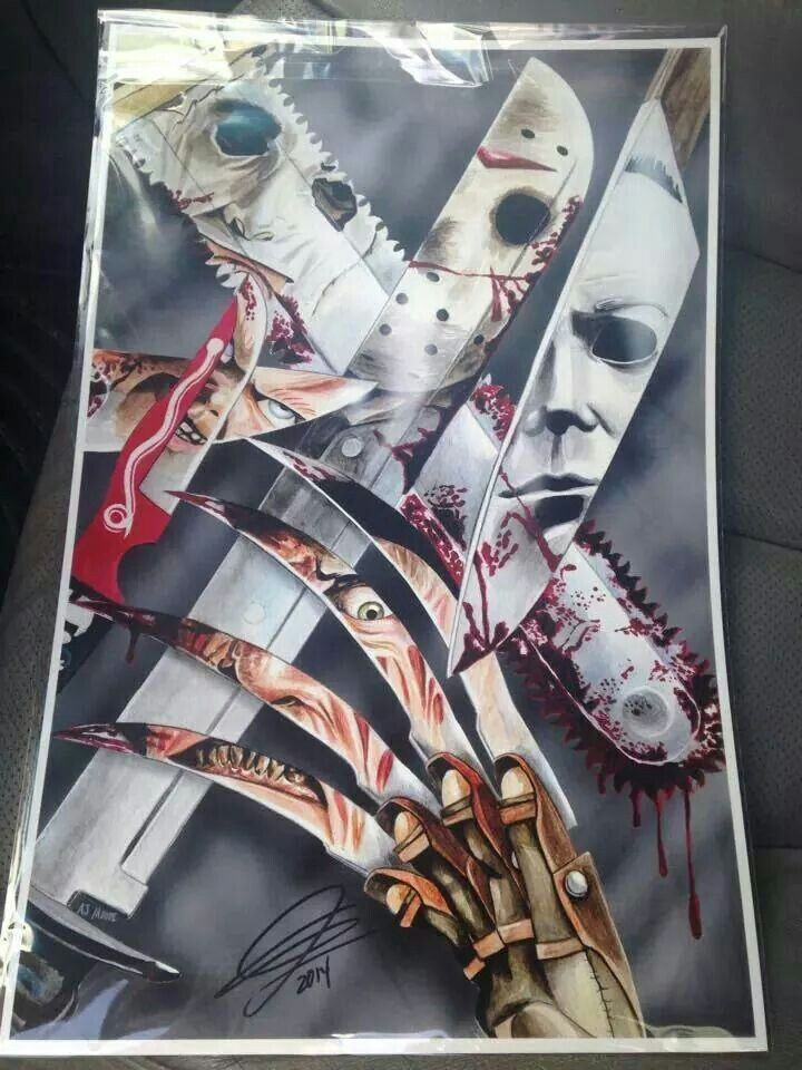 Jason, Chucky,  Freddy,  Michael and Leatherface   https://m.facebook.com/HorrorManiacs1?_rdr
