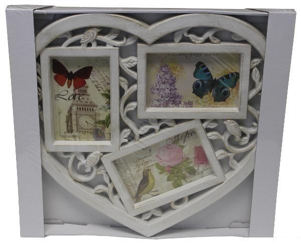 Fali fényképtartó, szív alakú, 3 db fénykép számára, képkeret
