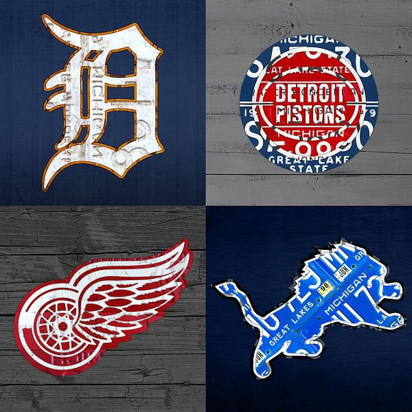 Detroit Sports Fan Recycled Vintage Michigan License Plate Art: Tigers, Pistons, Red Wings, and Lions.