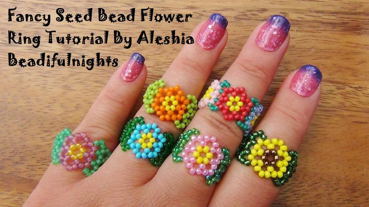 Fancy Seed Bead Flower Ring. good for left over beads. #Seed #Bead #Tutorials