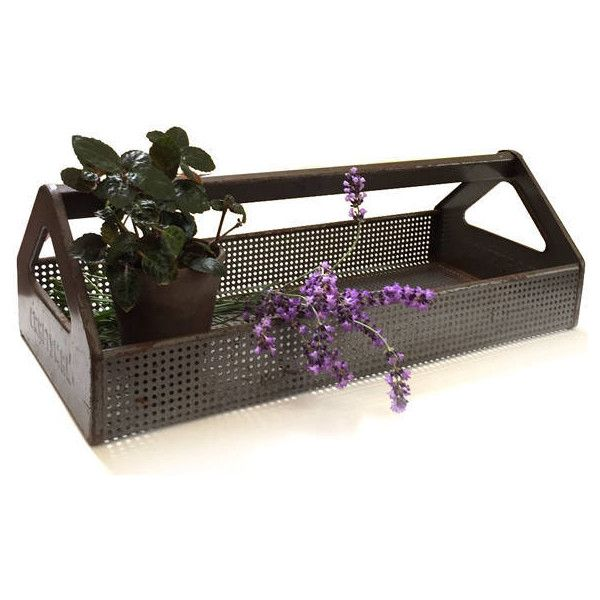 Vintage Craftsman Metal Tool Caddy Carrier Tote Trug Basket for Tools... ($55) ❤ liked on Polyvore featuring home, outdoors and garden tools