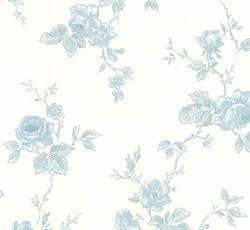 """Kulturhistorisk Bok innehåller 112 vackra tapeter och bårder med mönstren härrör från sent 1700- till 1950-tal. Flertalet mönster är tryckta med originalvalsar andra är rekonstruktioner. Kollektionen är lätt att känna igen som den """"Svarta boken"""" från Lim & Handtryck.  Tapeten Rosen har sitt ursprung från år ca 1920-1950. Rosen är en vacker och romantisk tapet med rosor och blad på stam i en mjuk blå och ljusblå kulör."""