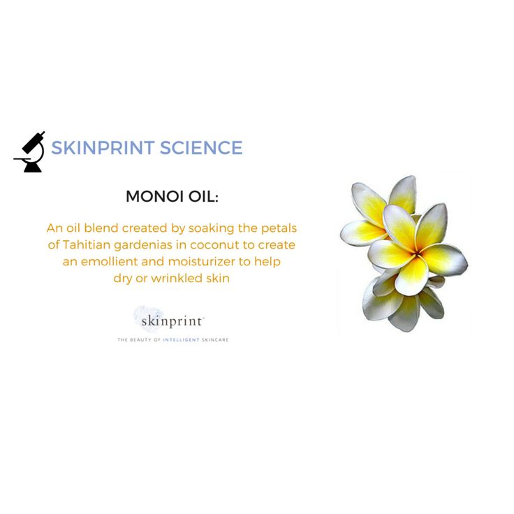 Monoi oil is made from soaking the petals of Tahitian gardenia in coconut oil. It deeply moisturizes to keep skin health and smooth. #monoi #SkinprintScience #SkincareIngredients #skinprint #naturallyintelligentskincare #ecoceuticals #EcoCert