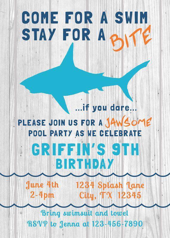 Shark Birthday Invitation Swim Pool Party Swimming Shark Invite